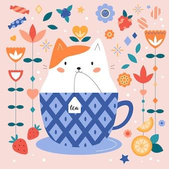Śliczny kot kreskówkowy w filiżance z torebką herbaty