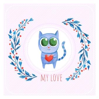 Śliczny kot miłości tło