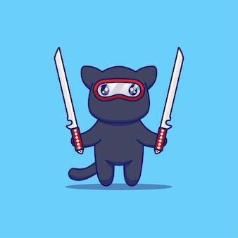 Śliczny kot ninja gotowy do walki