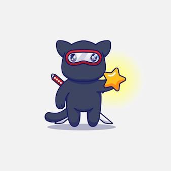 Śliczny kot ninja niosący gwiazdę
