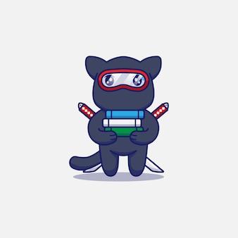 Śliczny kot ninja niosący kilka książek