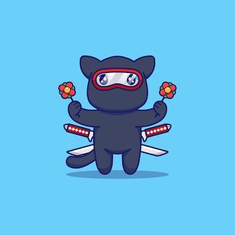 Śliczny kot ninja niosący kwiaty