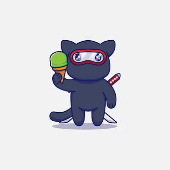 Śliczny kot ninja niosący lody