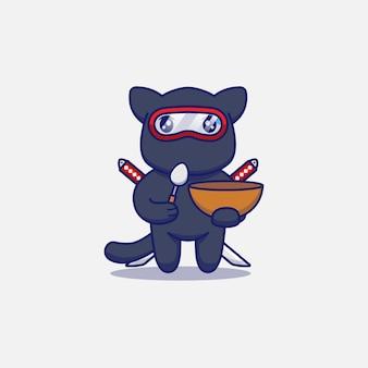 Śliczny kot ninja niosący łyżkę i miskę