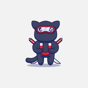 Śliczny kot ninja niosący magnes