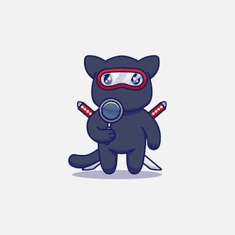 Śliczny kot ninja niosący szkło powiększające