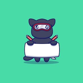 Śliczny kot ninja niosący sztandar