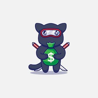 Śliczny kot ninja niosący torbę pieniędzy