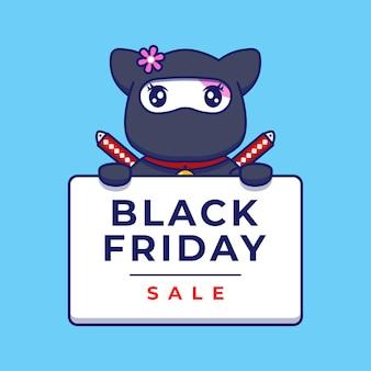Śliczny kot ninja niosący transparent sprzedaży w czarny piątek