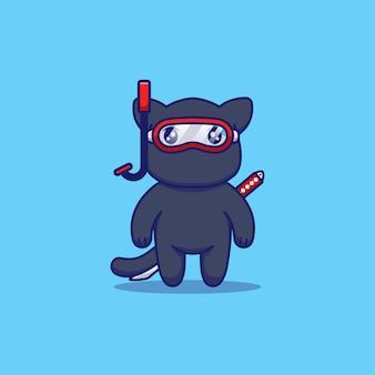 Śliczny kot ninja noszący okulary do nurkowania