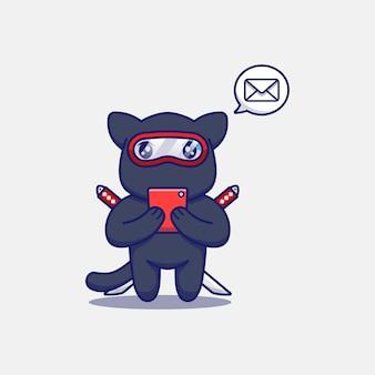 Śliczny kot ninja odbierający wiadomość za pomocą smartfona