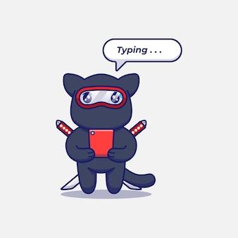 Śliczny kot ninja piszący za pomocą smartfona