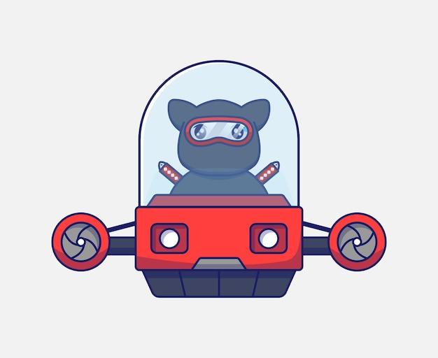 Śliczny kot ninja prowadzący pojazd latający