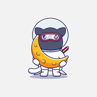 Śliczny kot ninja ubrany w garnitur astronauty niosący księżyc