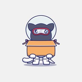 Śliczny kot ninja ubrany w kostium astronauty niosący karton