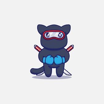 Śliczny kot ninja w rękawicach bokserskich