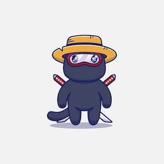 Śliczny kot ninja w słomkowym kapeluszu