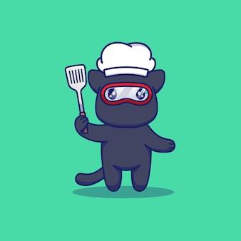 Śliczny kot ninja z kapeluszem szefa kuchni i łopatką
