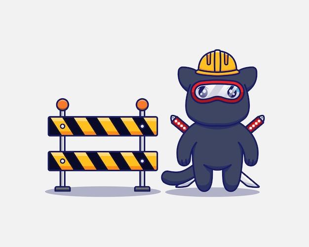 Śliczny kot ninja z kaskiem i blokadą drogową