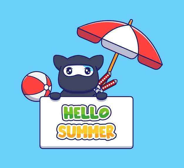 Śliczny kot ninja z powitaniem na lato
