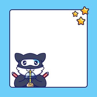 Śliczny kot ninja z pustą tablicą tekstową
