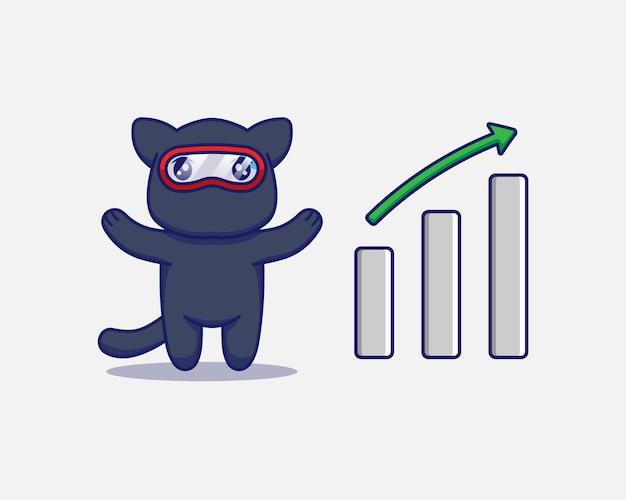 Śliczny kot ninja z wykresem w górę!