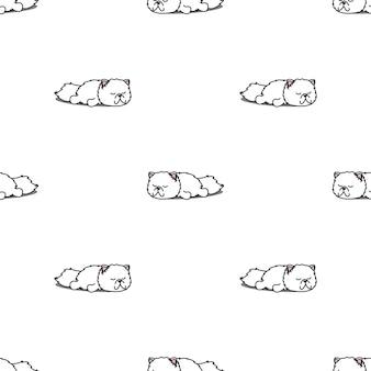 Śliczny kot perski sypialny bezszwowy wzór