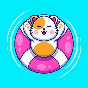 Śliczny kot pływający z kreskówką z pierścieniem do pływania