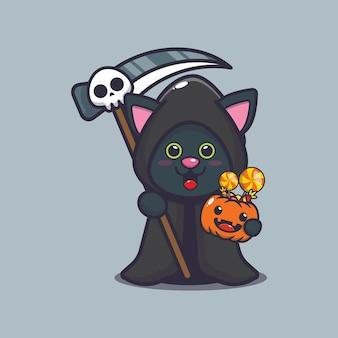 Śliczny kot ponury żniwiarz trzymający dynię halloween śliczna ilustracja kreskówka halloween