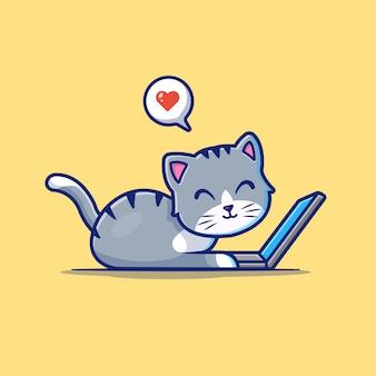 Śliczny kot pracuje na laptopie ikona. kot i laptop, zwierzę ikona biały na białym tle