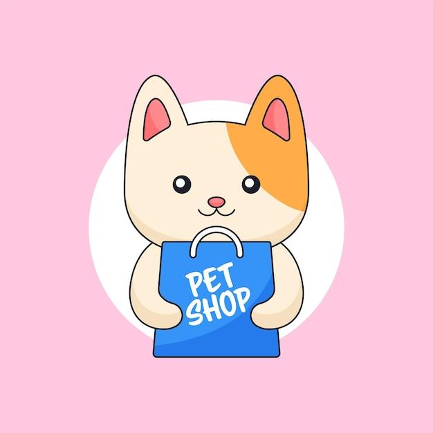 Śliczny kot trzyma sklepową torbę dla sklepu zoologicznego zwierząt maskotka kreskówka wektor ilustracja