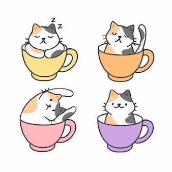 Śliczny kot w filiżance herbaciana ręka rysująca kreskówki kolekcja