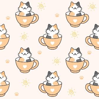 Śliczny kot w filiżance kawy bezszwowy deseniowy tło