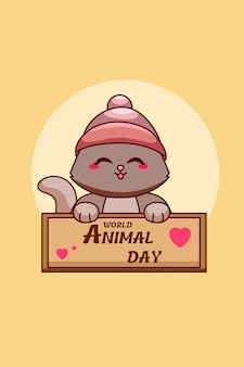 Śliczny kot w ilustracja kreskówka światowego dnia zwierząt