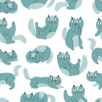Śliczny kot w skandynawskim stylu bezszwowy wzór