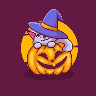 Śliczny kot wewnątrz dyni halloween wektor ilustracja kreskówka ikona