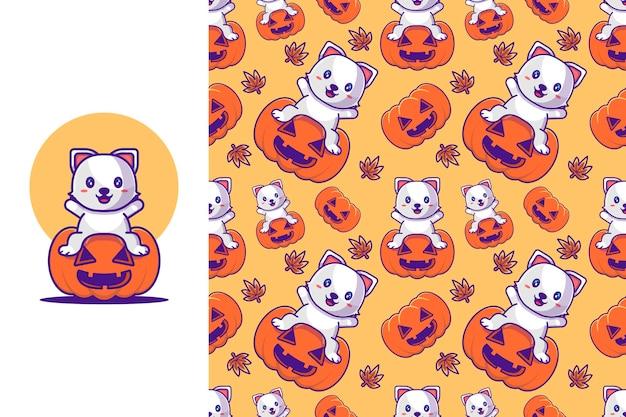 Śliczny kot z dynią happy halloween z bezszwowym wzorem