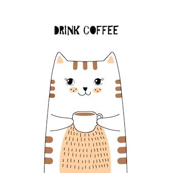 Śliczny kot z kawą.