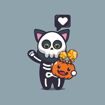 Śliczny kot z kostiumem szkieletu trzymający dynię halloween śliczną ilustrację kreskówki halloween