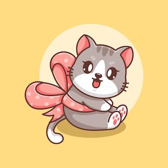 Śliczny kot z kreskówką wstążkową