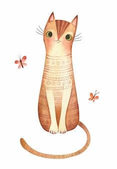 Śliczny kot z motylami akwarela ilustracja