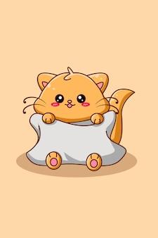 Śliczny kot z poduszką zwierzęcą ilustracją kreskówki