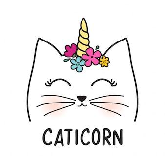 Śliczny kot z rogiem i kwiatami