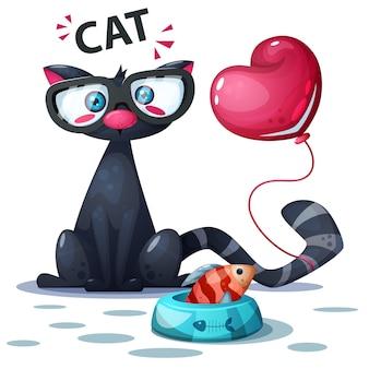 Śliczny kot z rybim i lotniczym balonem