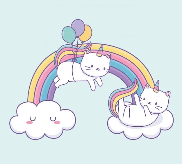 Śliczny kot z tęczowym ogonem i balonem helowym kawaii