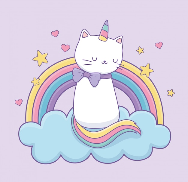Śliczny kot z tęczowym ogonem na postaci kawaii chmur