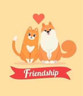 Śliczny kota i psa przyjaźni dnia pojęcia tło