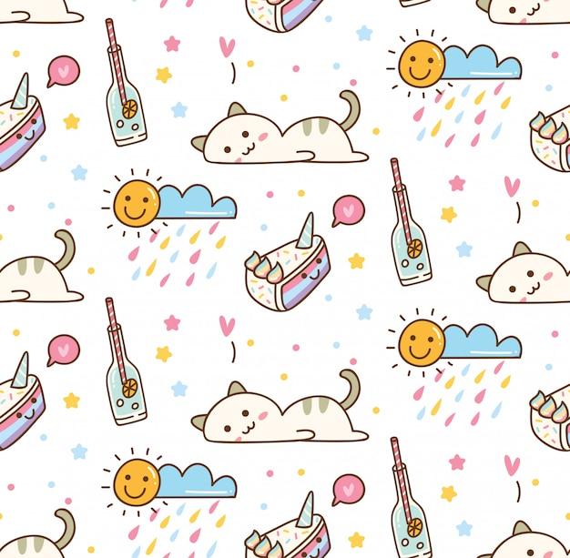 Śliczny kota kawaii tło