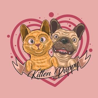 Śliczny kotek i szczeniak razem wewnątrz ilustracji serca z napisem na jasnoróżowym tle