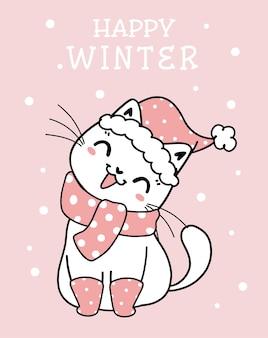 Śliczny kotek kot boże narodzenie kreskówka z różowymi zimowymi ubraniami, meowy catmas, płaski wektor doodle ilustracja liniowa